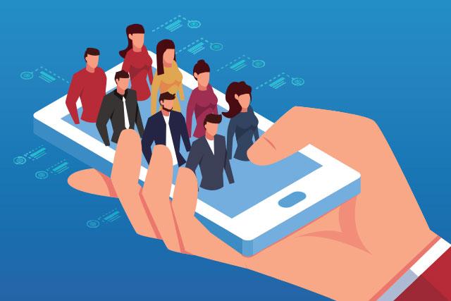 Human resources employee handbook in digital format on the phone