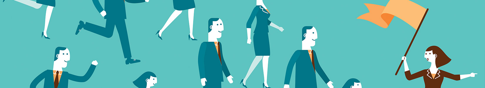 Illustration of HR employer of record team leader with employees following