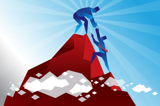Illustration of HR consulting helping client get over the mountain successfully.
