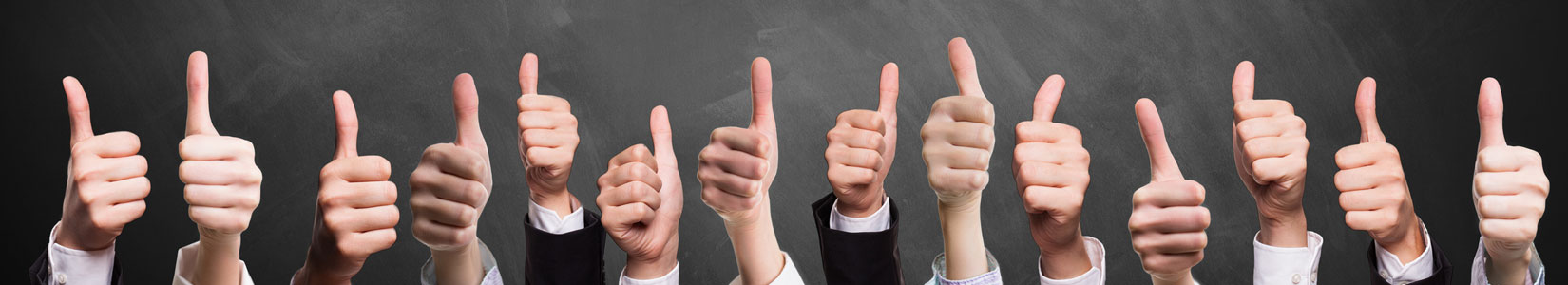 HR compensation with many employee hands showing thumbs up