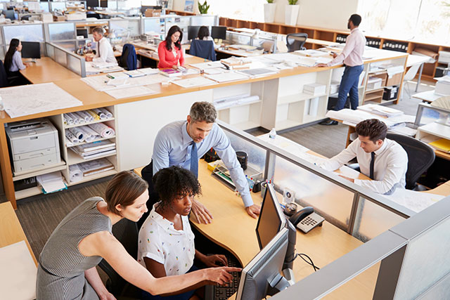 human resources services managers setting up client account in open office
