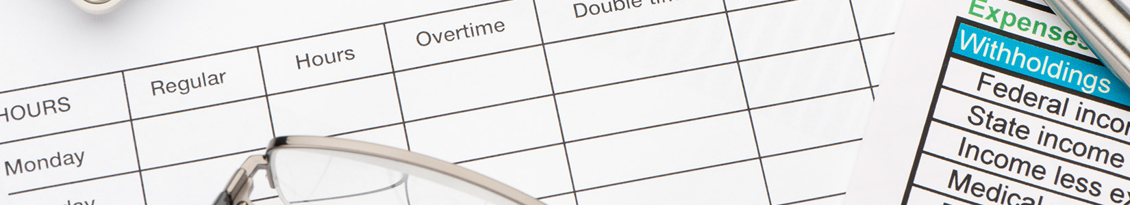 Payroll time sheet and withholdings document
