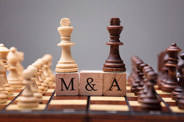 Close-up Of King Chess Pieces On Wooden Blocks With Mergers And Acquisitions