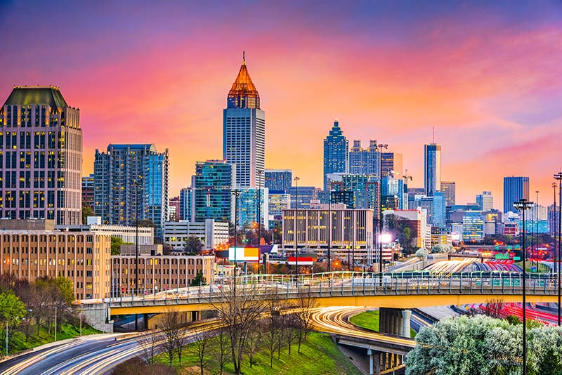 Skyline of Downtown Atlanta GA at Sunset