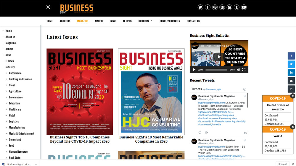 Business Sight Magazine Web Page Cover